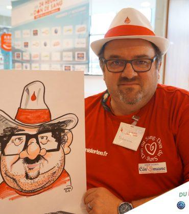 Animation caricatures au 24 Heures du Don de Sang au Mans