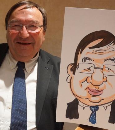 Animation caricatures traditionnelles au restaurant pour soirée d'entreprise